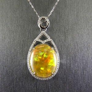 Jewelry - Fire Opal Diamond Solitaire Pendant 14k WG 22.13Ct